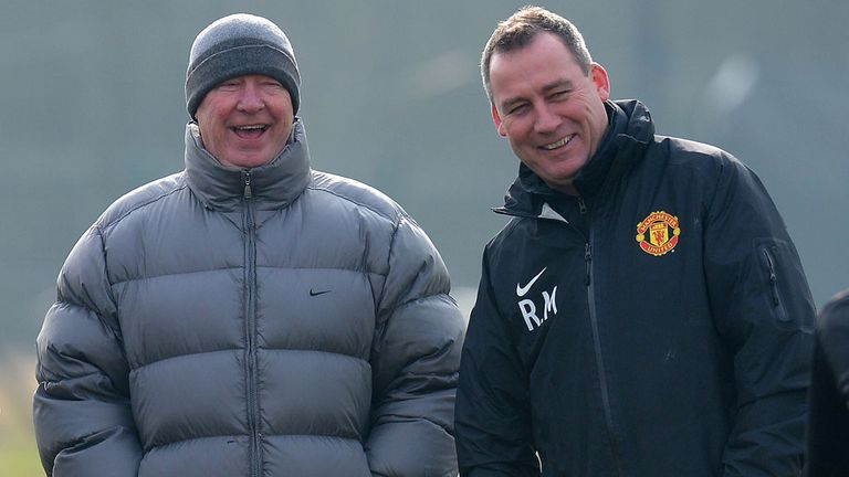 Rene Meulensteen during a Manchester United training session with manager Alex Ferguson in 2013