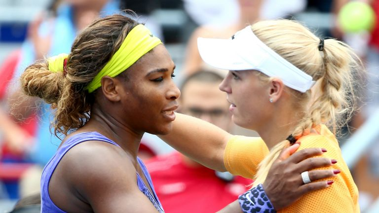 Serena Williams fought back to beat Caroline Wozniacki in Montreal on Friday