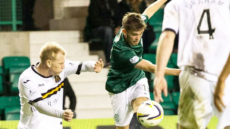 Sam Stanton scores the winning goal as Hibernian beat Dumbarton 3-2 at Easter Road