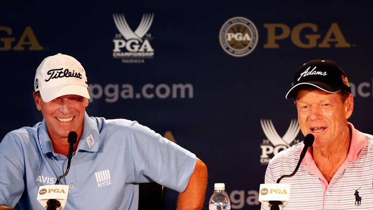 Steve Stricker alongside Tom Watson at the announcement of his Ryder Cup vice-captaincy