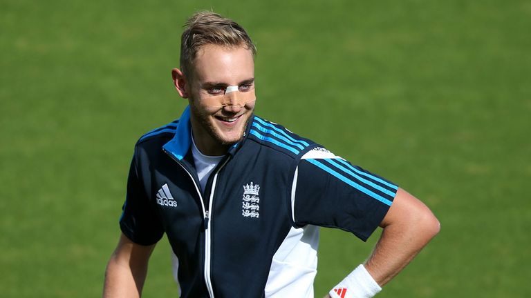 Broad all smiles despite taking a nasty blow to the nose
