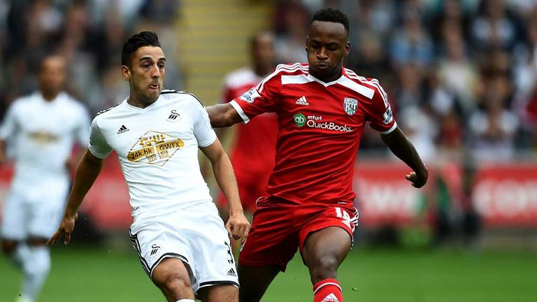 Neil Taylor in action for Swansea against West Brom