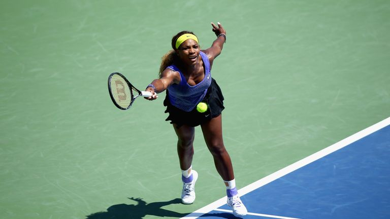 Serena Williams hits a return during her match against Samantha Stosur