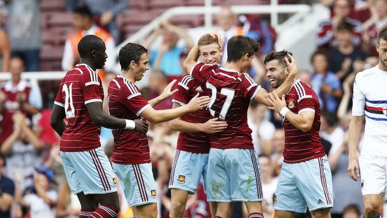 West Ham celebrate Reece Burke's late winner