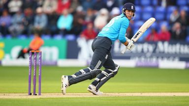 Alex Hales of England plays a shot during the second Royal London One-Day Series match against India at the Swalec Stadium, Cardiff