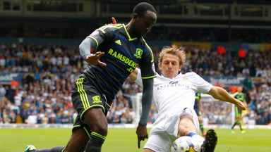 Albert Adomah (left): In action against Leeds