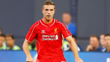Jordan Henderson in action during Liverpool