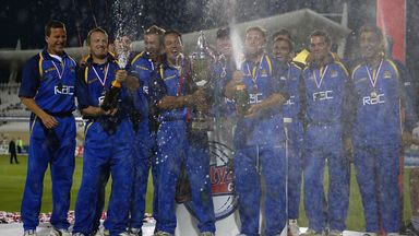 Surrey celebrate with the trophy in the very first Twenty20 Cup final
