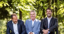 New Holland coach Guus Hiddink (c) with assistants Ruud van Nistelrooy (r) and Danny Blind (l)