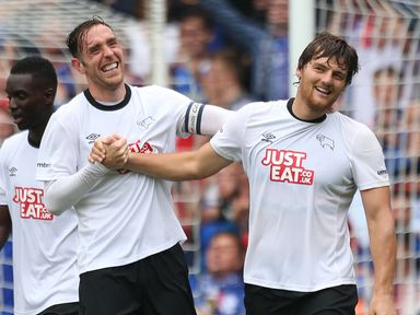Chris Martin (r): Scored twice for Derby