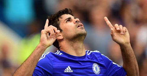 Diego Costa: Celebrates his goal against Leicester