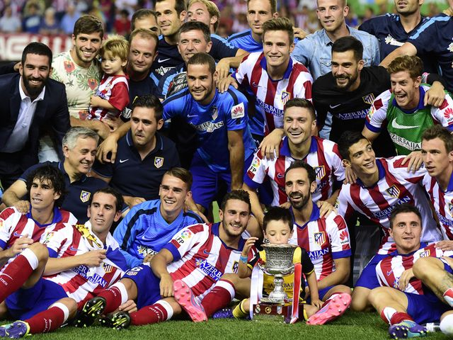Atletico Madrid celebrate their Super Cup success