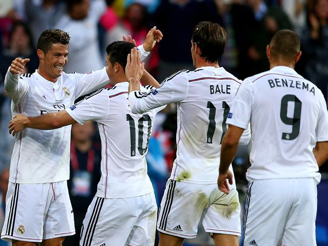 Cristiano Ronaldo celebrates after opening the scoring for Real Madrid