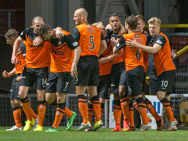 Dundee United new boy Mario Bilate celebrates his wonder strike