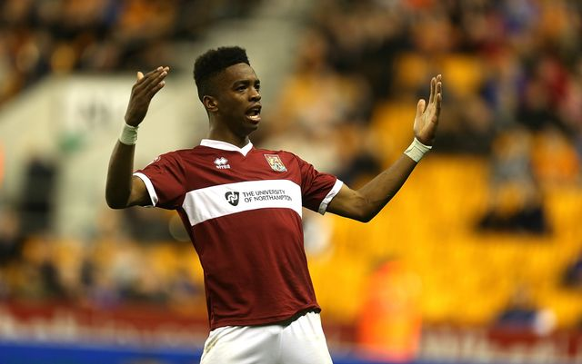Ivan Toney of Northampton Town celebrates after scoring v Wolves