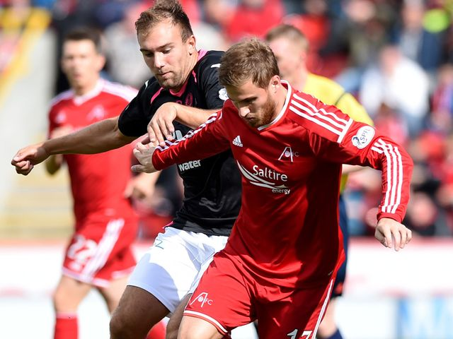 Aberdeen's David Goodwillie holds off Conrad Balatoni