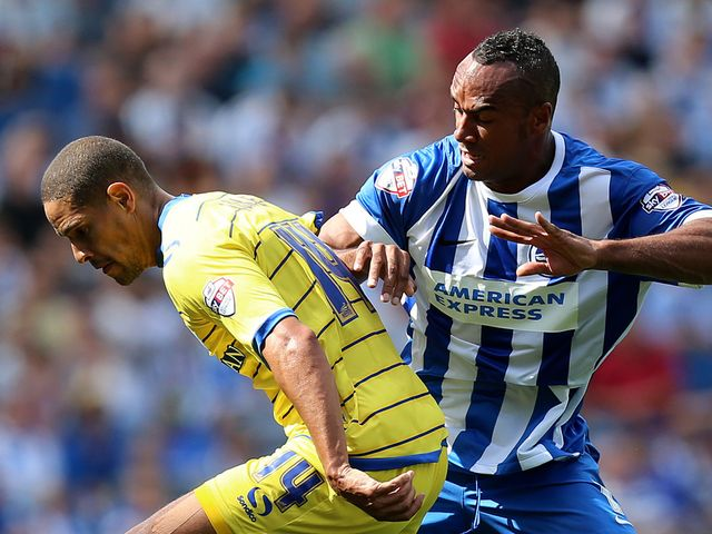 Sheffield Wednesday's Giles Coke is challenged by Brighton's Chris O'Grady