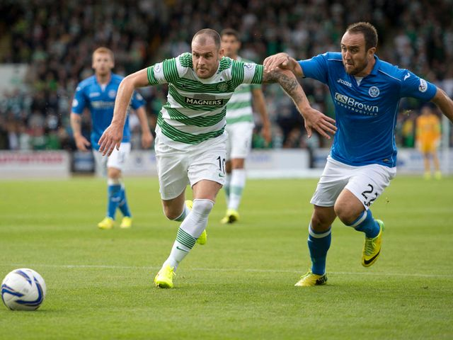 Anthony Stokes is tracked by St Johnstone's Lee Croft