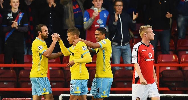 Gayle: Celebrates goal at Walsall