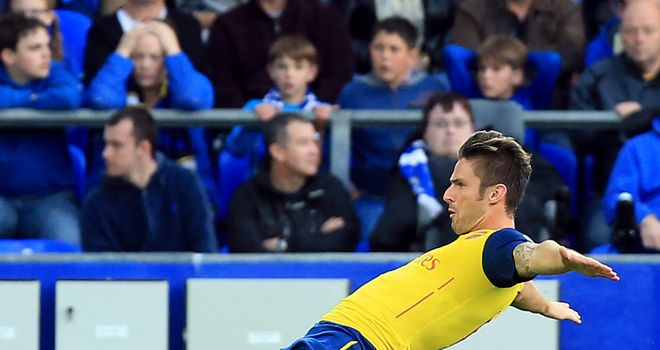 Olivier Giroud celebrates his late equaliser