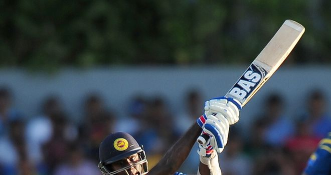 Sri Lanka's captain Angelo Mathews plays a shot during the second ODI against Pakistan