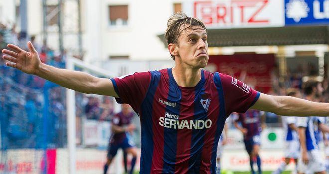 Javier Lara celebrates his winning goal for Eibar