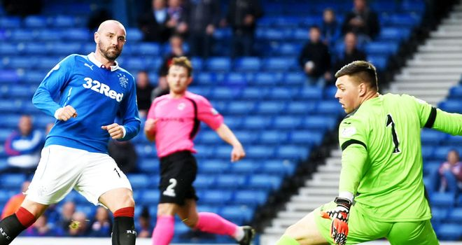 Rangers striker Kris Boyd scores his second goal in the 8-1 victory over Clyde