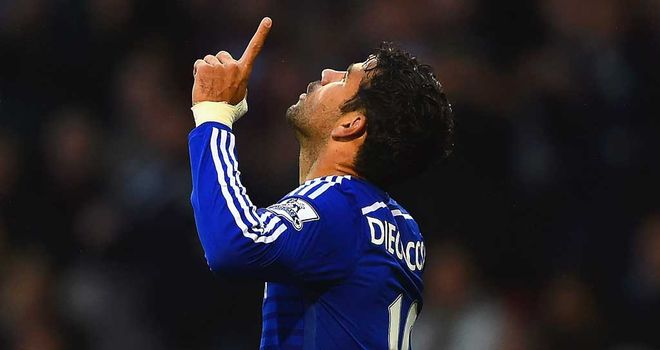 Diego Costa: Celebrates Chelsea's third at Burnley