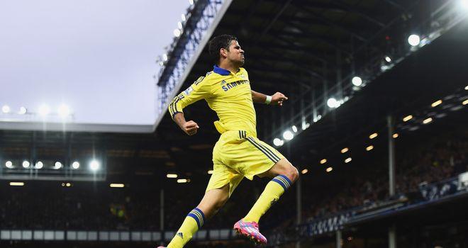 Diego Costa celebrates scoring Chelsea's sixth goal against Everton
