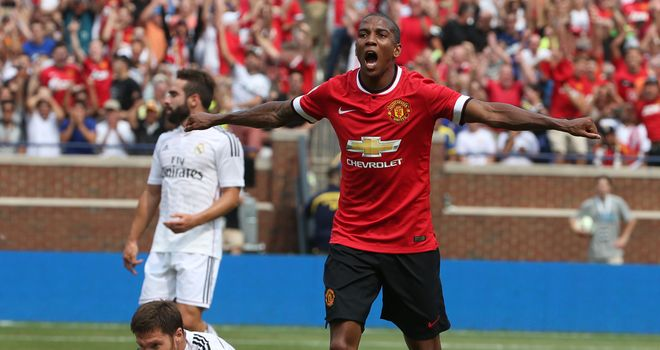 Ashley Young: Celebrates his first goal