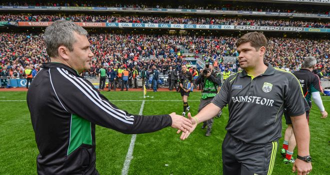 James Horan shakes hands with Kerry manager Eamonn Fitzmaurice after the final whistle