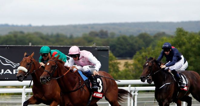 Sultanina (second left) ridden by William Buick wins the Markel Insurance Nassau stakes