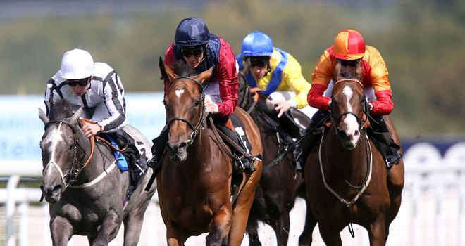 Malabar (centre) and Richard Hughes cruise home in the Whiteley Clinic Prestige Stakes