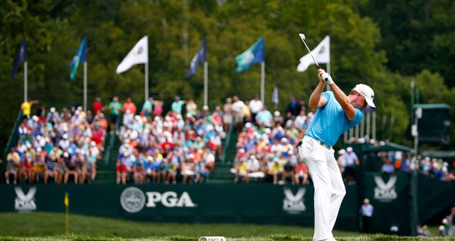 Jamie Donaldson hits his tee shot on the eighth hole during the third round