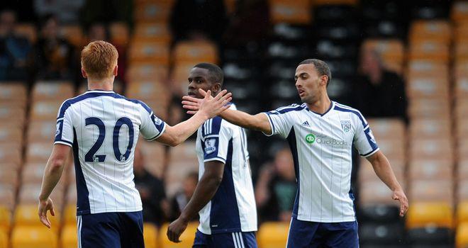 Kemar Roofe: Celebrates goal for West Brom
