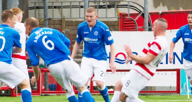 Darian Mackinnon scores the only goal of the game for Hamilton against St Johnstone