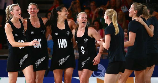 New Zealand celebrate beating England in the netball semi-final at SECC Precinct in Glasgow