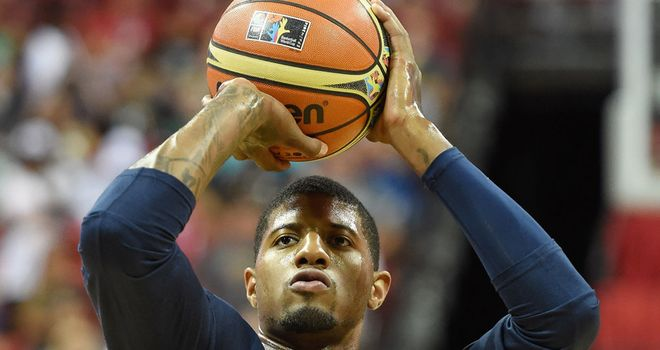 Paul George warms up before the US national team practice game in Las Vegas