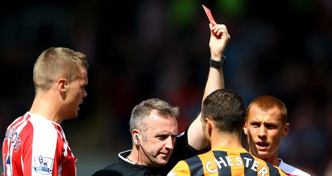 James Chester of Hull City receives his marching orders in the first half against Stoke.