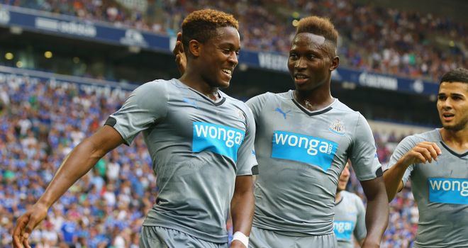 Roland Aarons: Celebrates scoring in Newcastle's 3-1 friendly win over Schalke