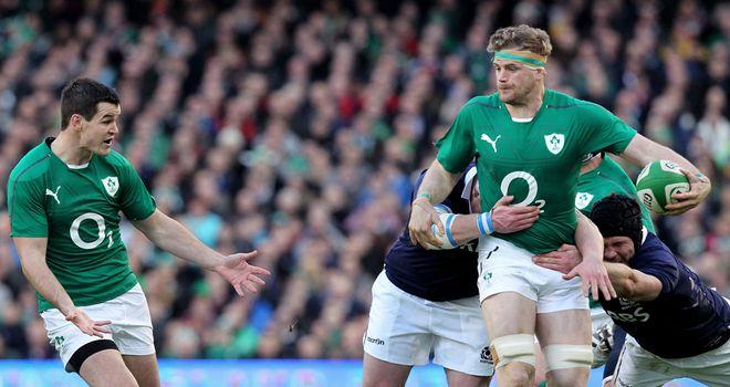 Jamie Heaslip, right, and Jonny Sexton in action for Ireland