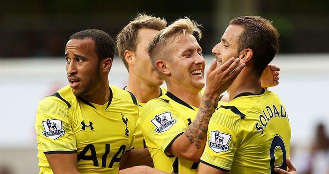 Roberto Soldado: Celebrates his goal for Tottenham