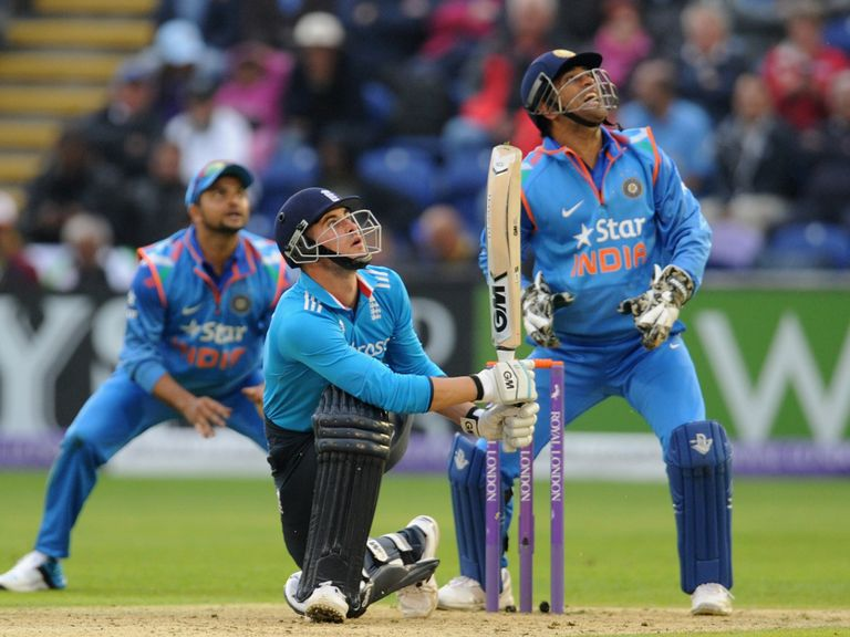England's Alex Hales skies a delivery from India's Ravindra Jadeja and is caught