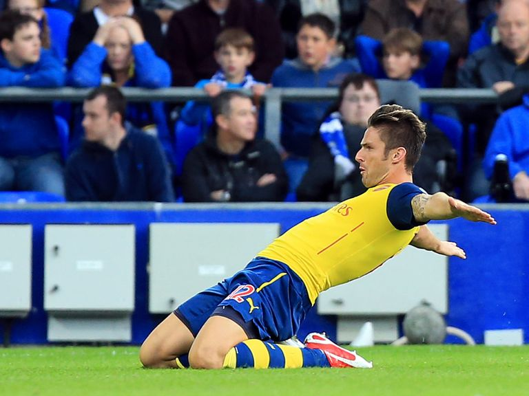 Olivier Giroud enjoys his equaliser for Arsenal at Everton