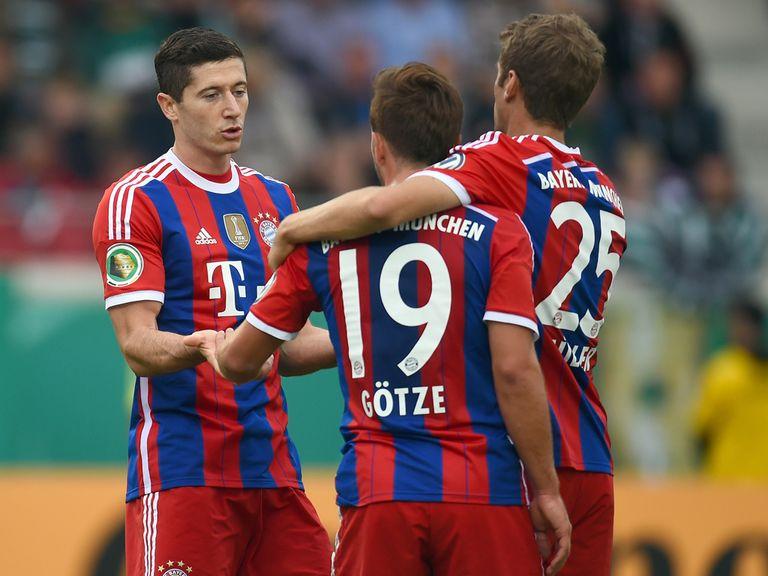 Bayern Munich celebrate Mario Gotze's goal