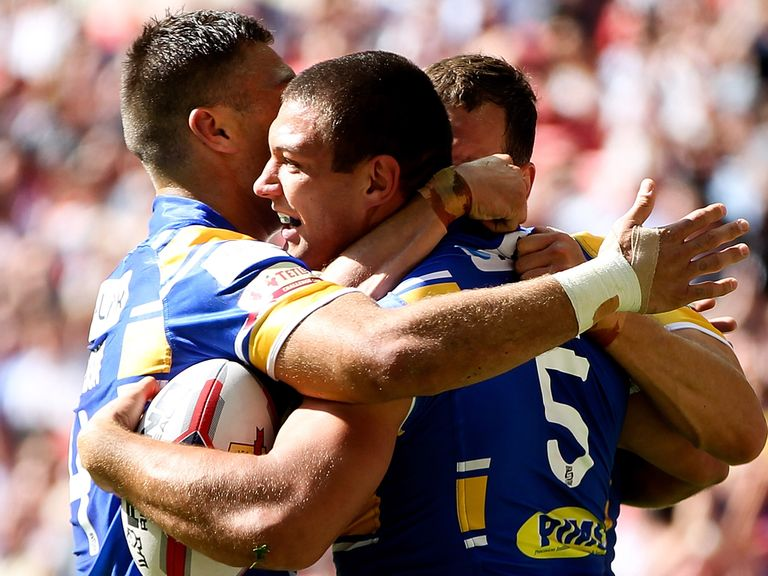 Ryan Hall celebrates one of his two Wembley tries