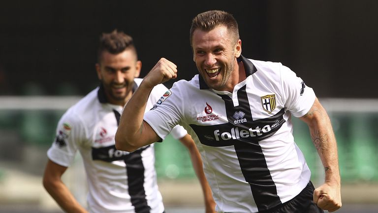 Antonio Cassano celebrates his second goal