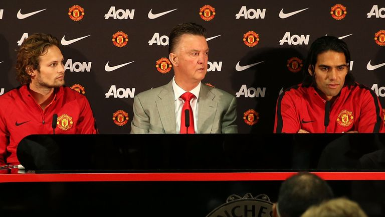 Former Man United manager Louis van Gaal unveiled Daley Blind (l) and Radamel Falcao (r) in August, 2014