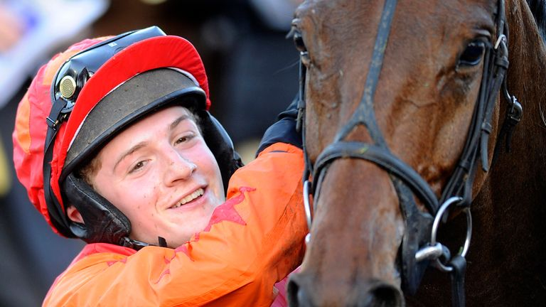 Harry Derham celebrates with Brampour - his favourite moment in the saddle