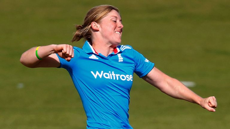 Heather celebrates taking the wicket of India's batsman Mithali Raj in the second one-dayer